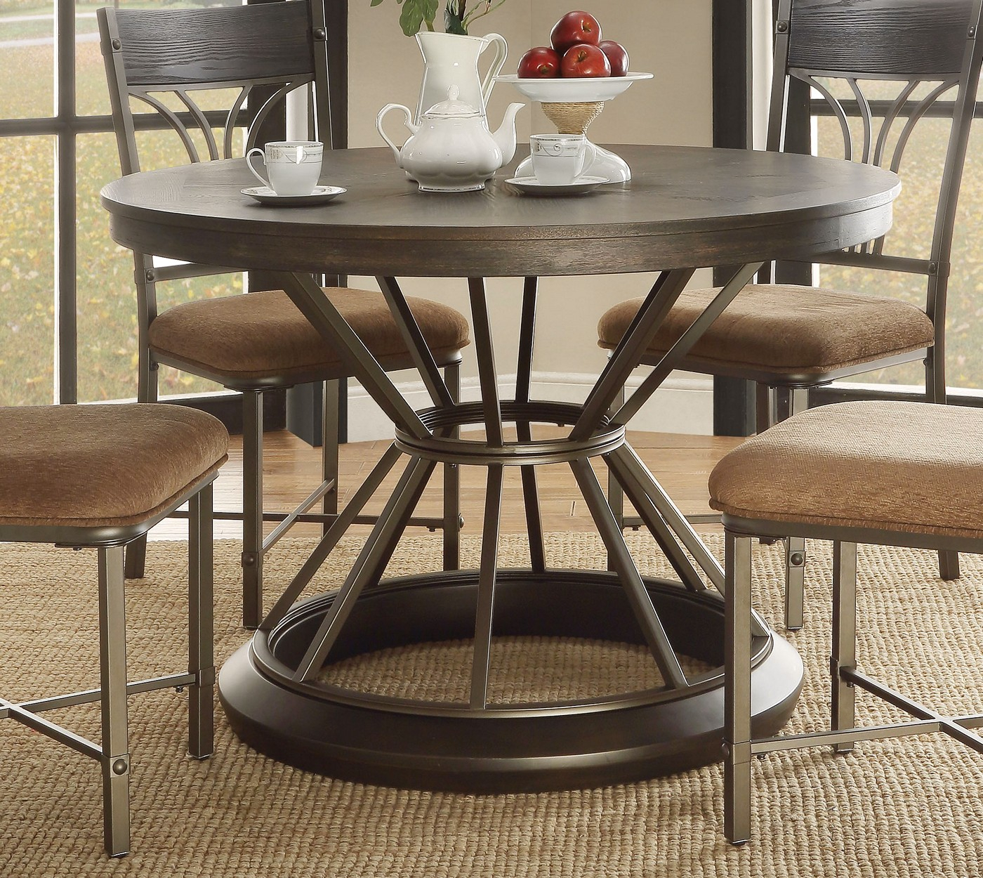"""Kieran Rustic 45"""" Round Antique Black Iron Pedestal Dining Inside Most Popular 47'' Pedestal Dining Tables (View 12 of 15)"""