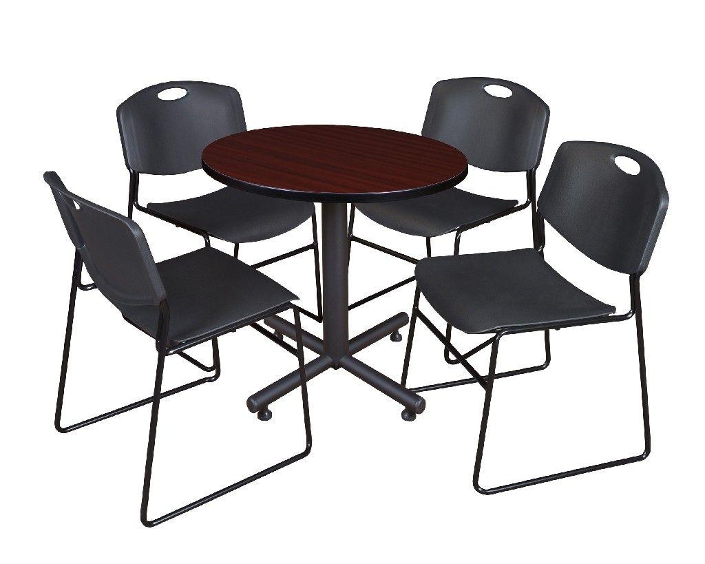 "Kobe 30"" Round Breakroom Table In Mahogany & 4 Zeng Stack In Newest Round Breakroom Tables And Chair Set (View 6 of 15)"