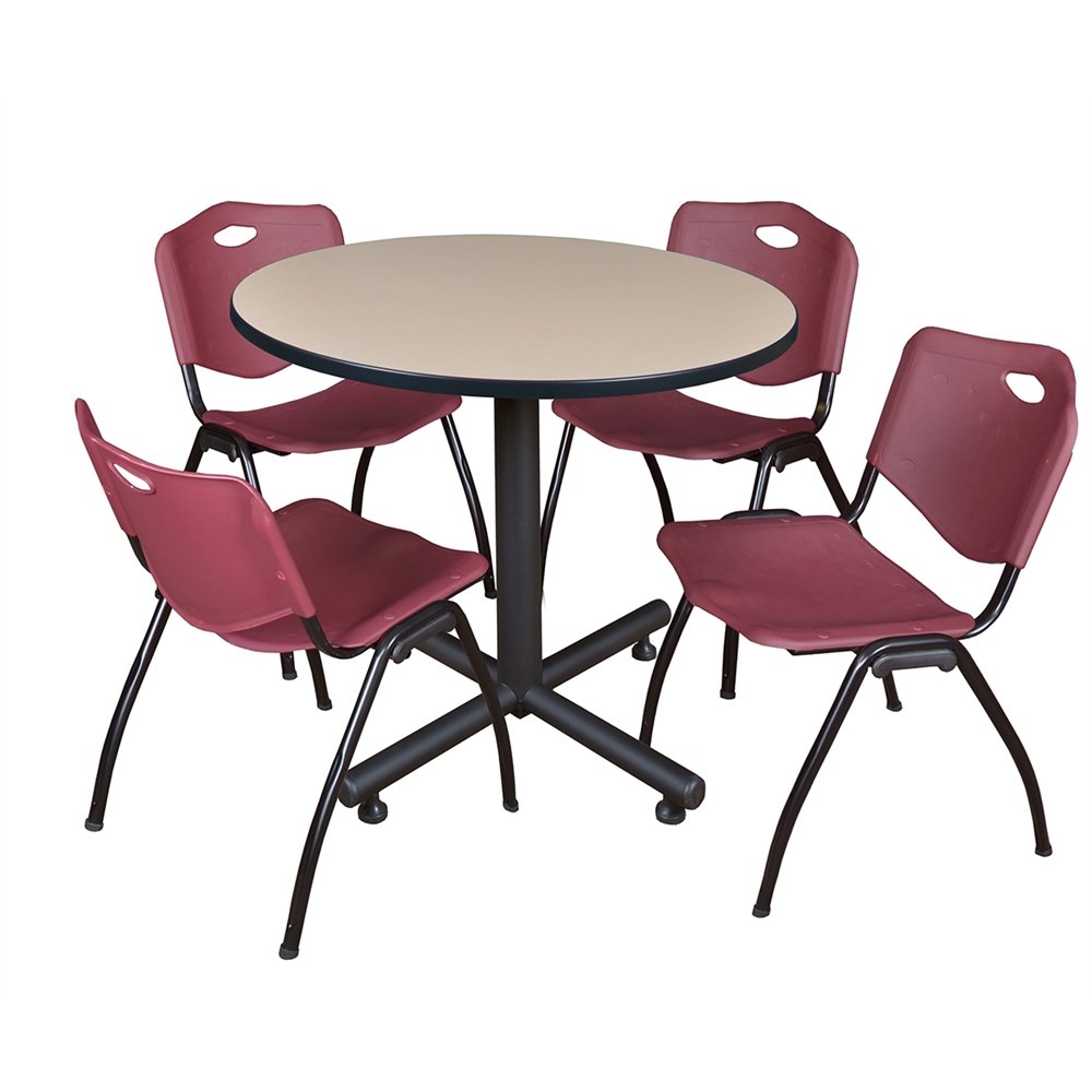 """Kobe 36"""" Round Breakroom Table Beige & 4 'M' Stack Chairs Inside Most Recently Released Round Breakroom Tables And Chair Set (View 2 of 15)"""