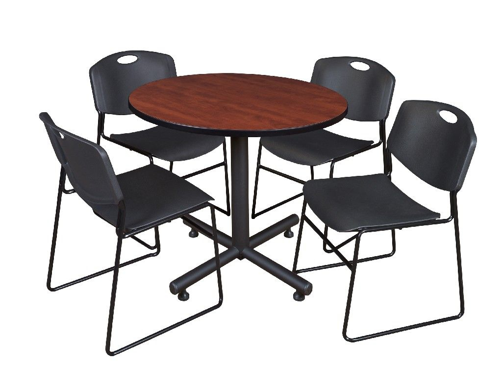"""Kobe 42"""" Round Breakroom Table In Cherry & 4 Zeng Stack Regarding Most Up To Date Mode Square Breakroom Tables (View 10 of 15)"""