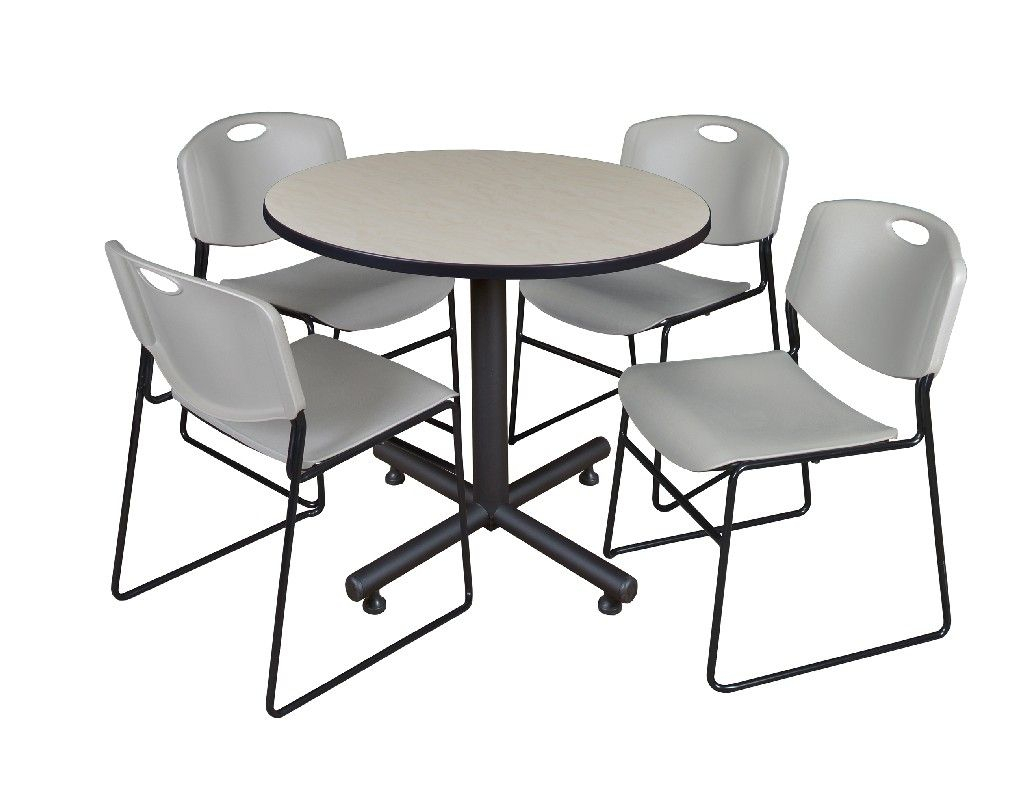 """Kobe 42"""" Round Breakroom Table In Maple & 4 Zeng Stack Throughout Most Recently Released Round Breakroom Tables And Chair Set (View 9 of 15)"""