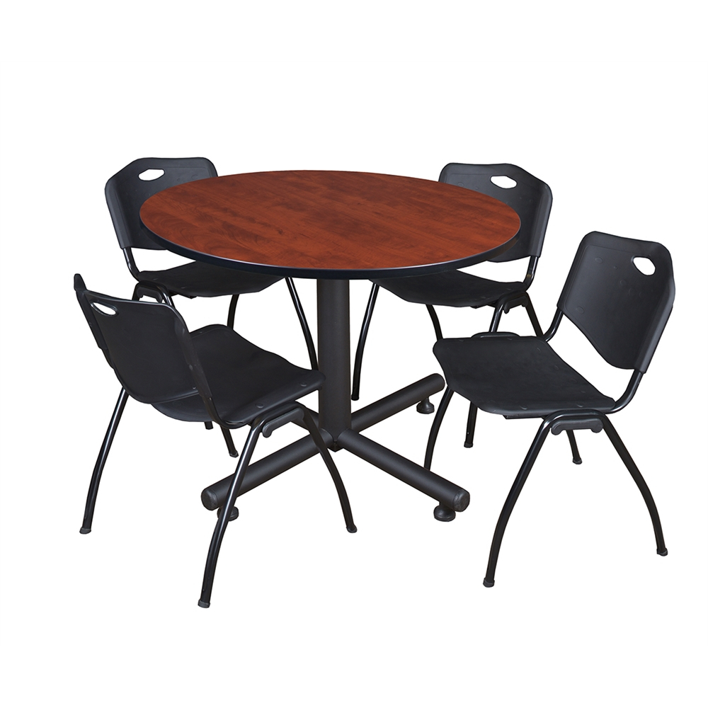 """Kobe 48"""" Round Breakroom Table Cherry & 4 'M' Stack For Most Recently Released Round Breakroom Tables And Chair Set (View 15 of 15)"""