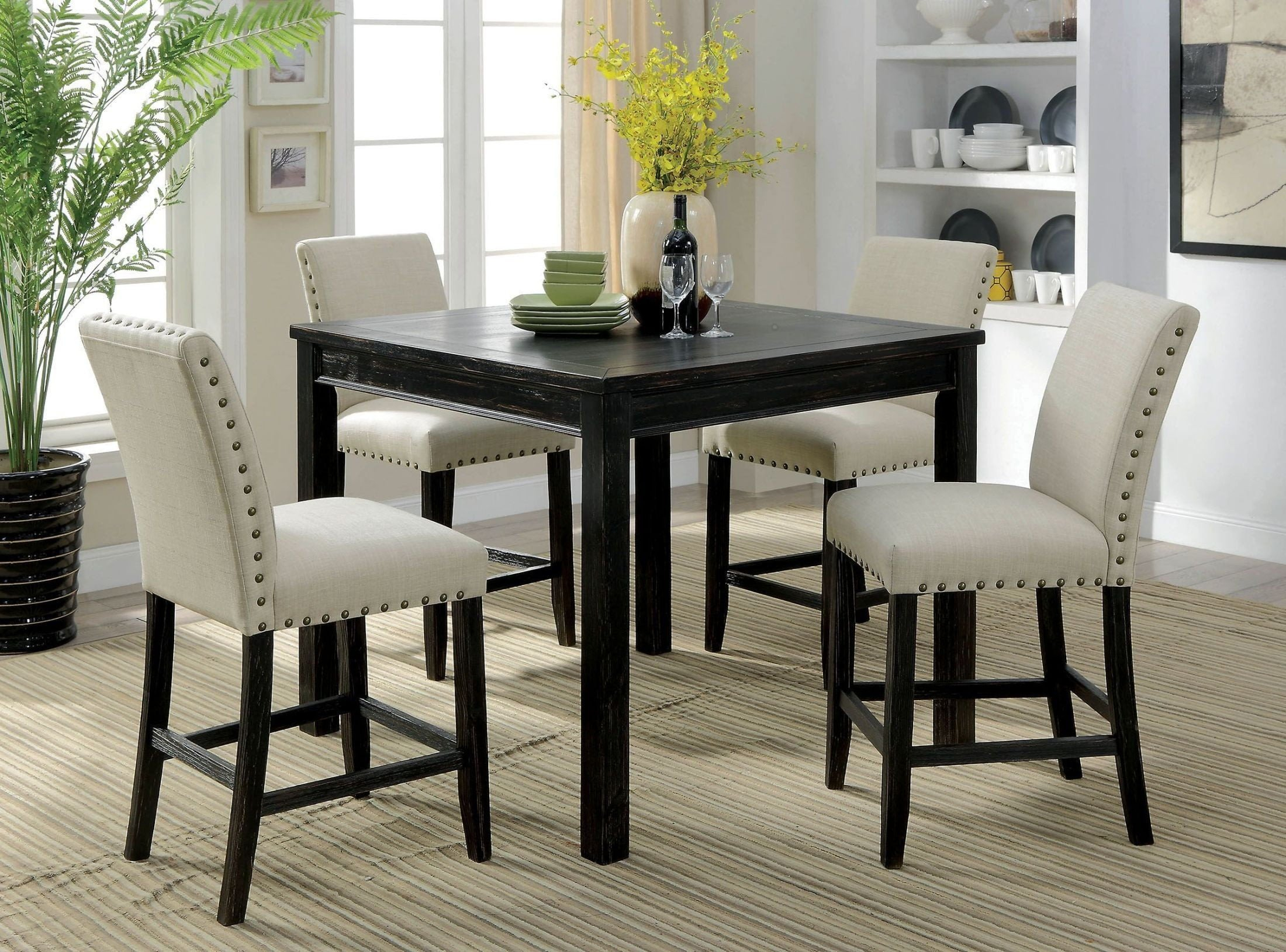 Kristie Antique Black Counter Height Dining Table Set Inside Recent Counter Height Dining Tables (View 3 of 15)