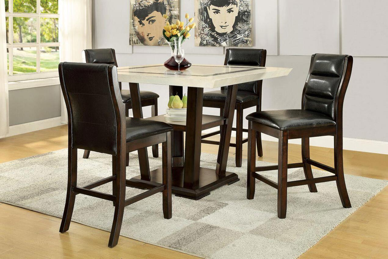 Lacombe 5 Piece Pub Table Set With Counter Height Chairs Intended For Most Recent Pennside Counter Height Dining Tables (View 7 of 15)