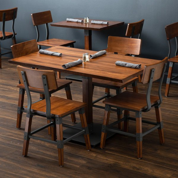 """Lancaster Table & Seating 30"""" X 48"""" Antique Walnut Solid Throughout Current Elderton 30'' Solid Wood Dining Tables (View 8 of 15)"""