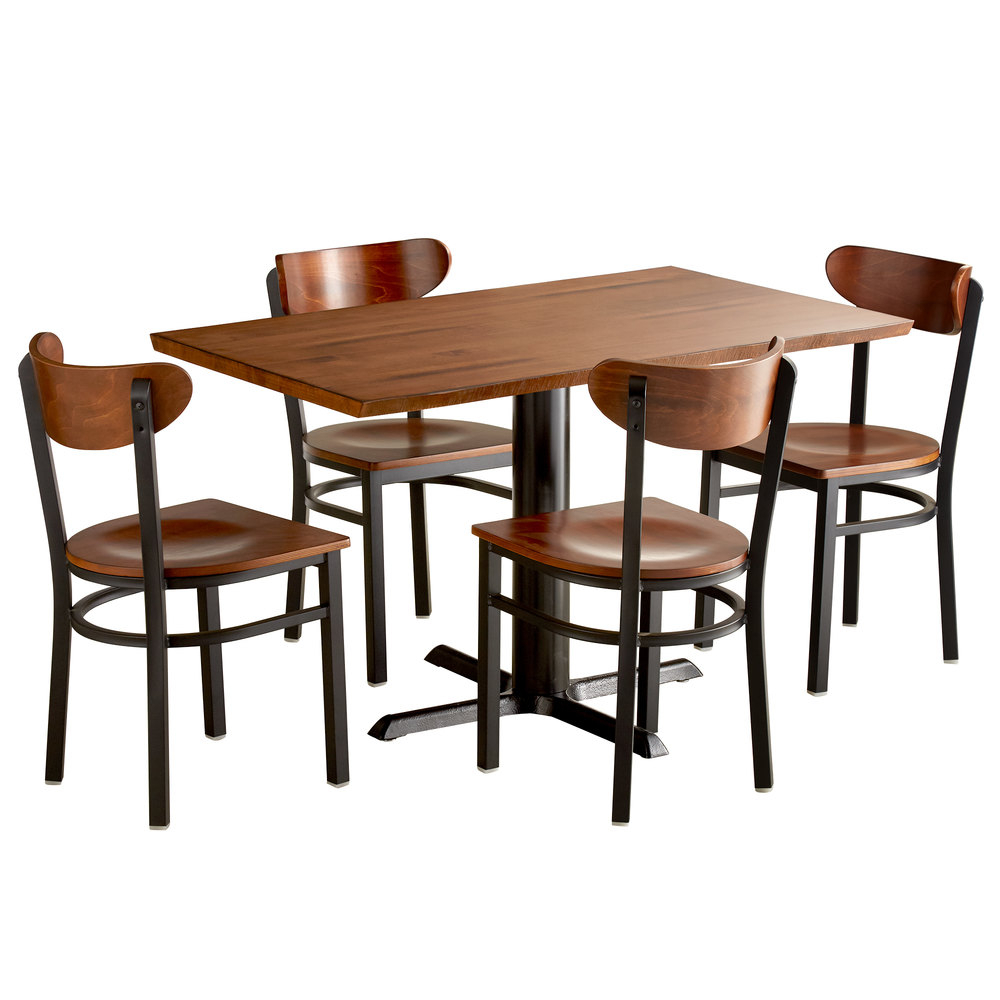 """Lancaster Table & Seating 30"""" X 48"""" Antique Walnut Solid Within Most Recent Elderton 30'' Solid Wood Dining Tables (View 7 of 15)"""