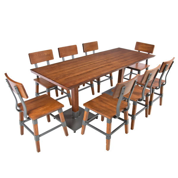 """Lancaster Table & Seating 30"""" X 72"""" Antique Walnut Solid For Newest Elderton 30'' Solid Wood Dining Tables (View 10 of 15)"""