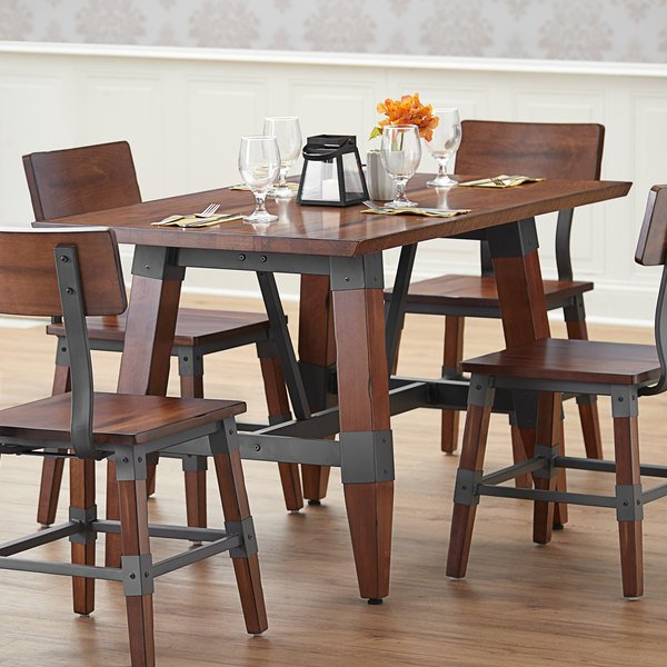Lancaster Table & Seating Antique Walnut Rustic Industrial Regarding Most Recent Leonila 48'' Trestle Dining Tables (View 5 of 15)