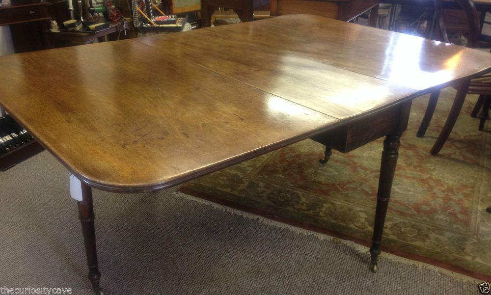 Large Antique Georgian Oak Gateleg Oblong Dining Table On In Current Bekasi 63'' Dining Tables (View 9 of 15)