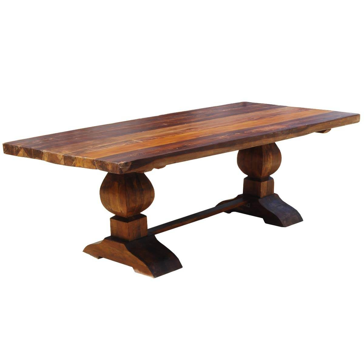 Large Rustic Reclaimed Wood Double Trestle Pedestal Dining With Regard To 2018 Trestle Dining Tables (Photo 10 of 15)