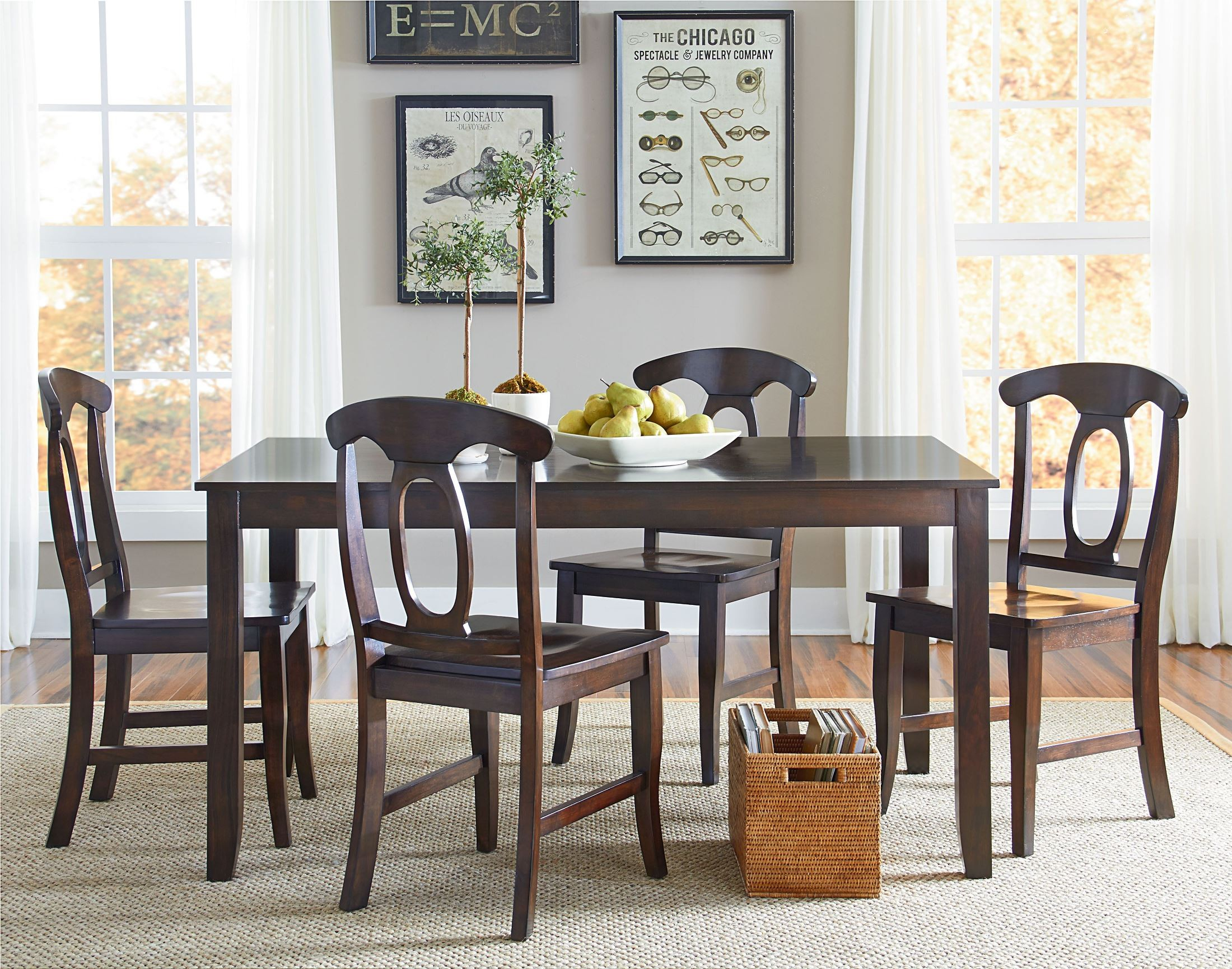 Larkin Antique Cherry 5 Piece Dining Room Set From Pertaining To Best And Newest Larkin  (View 5 of 15)