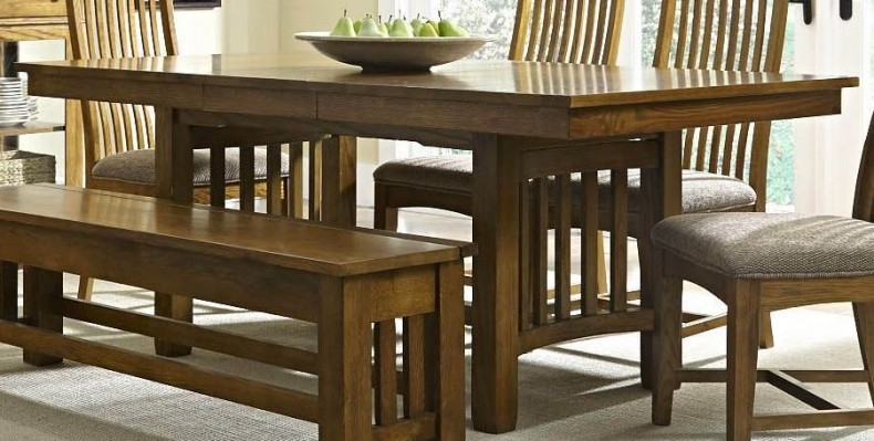 """Laurelhurst 92"""" Rustic Oak Extendable Rectangular Trestle Pertaining To Most Current Nerida Trestle Dining Tables (View 5 of 15)"""
