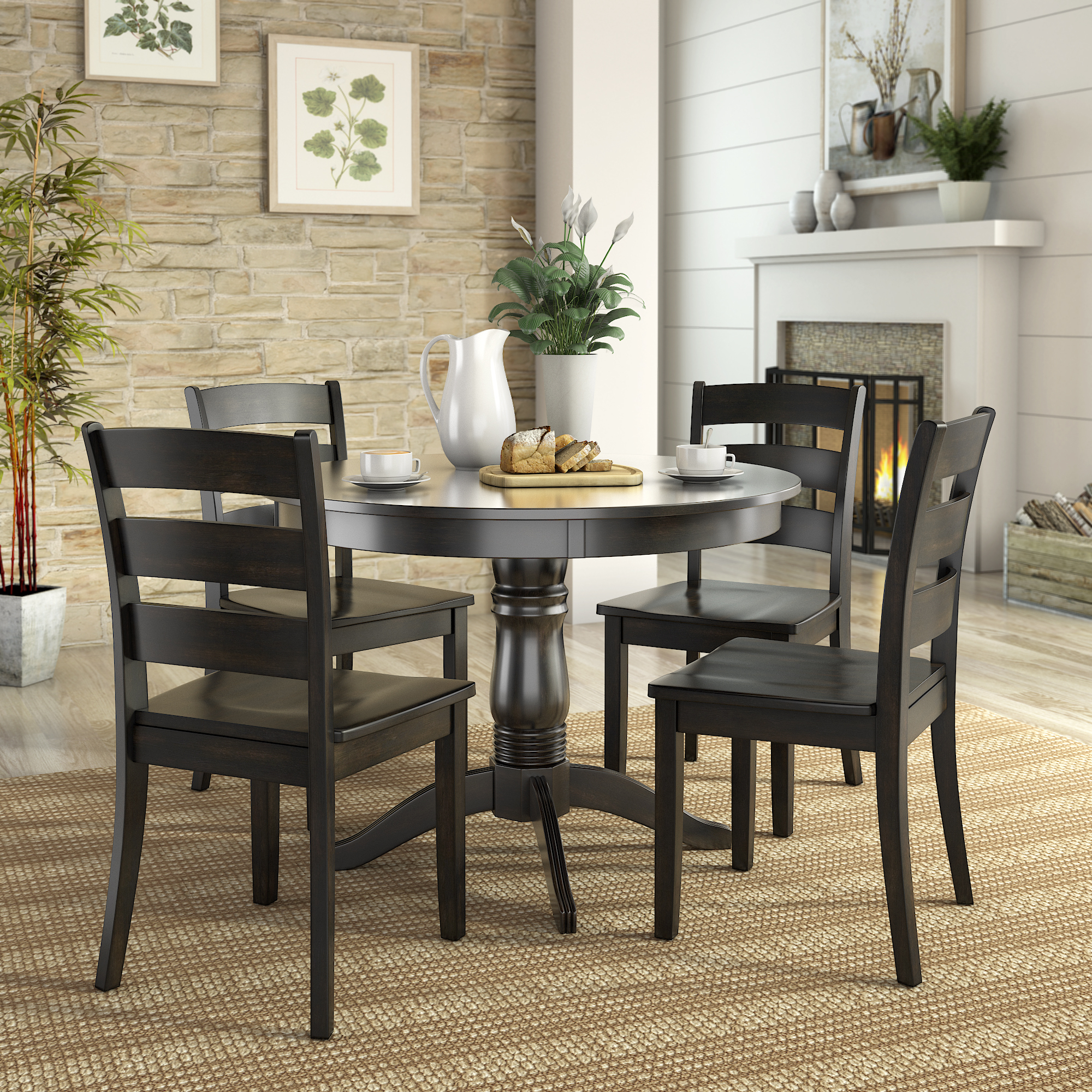 Lexington 5 Piece Wood Dining Round Table And 4 Ladder With Current Tudor City 28'' Dining Tables (Photo 2 of 15)