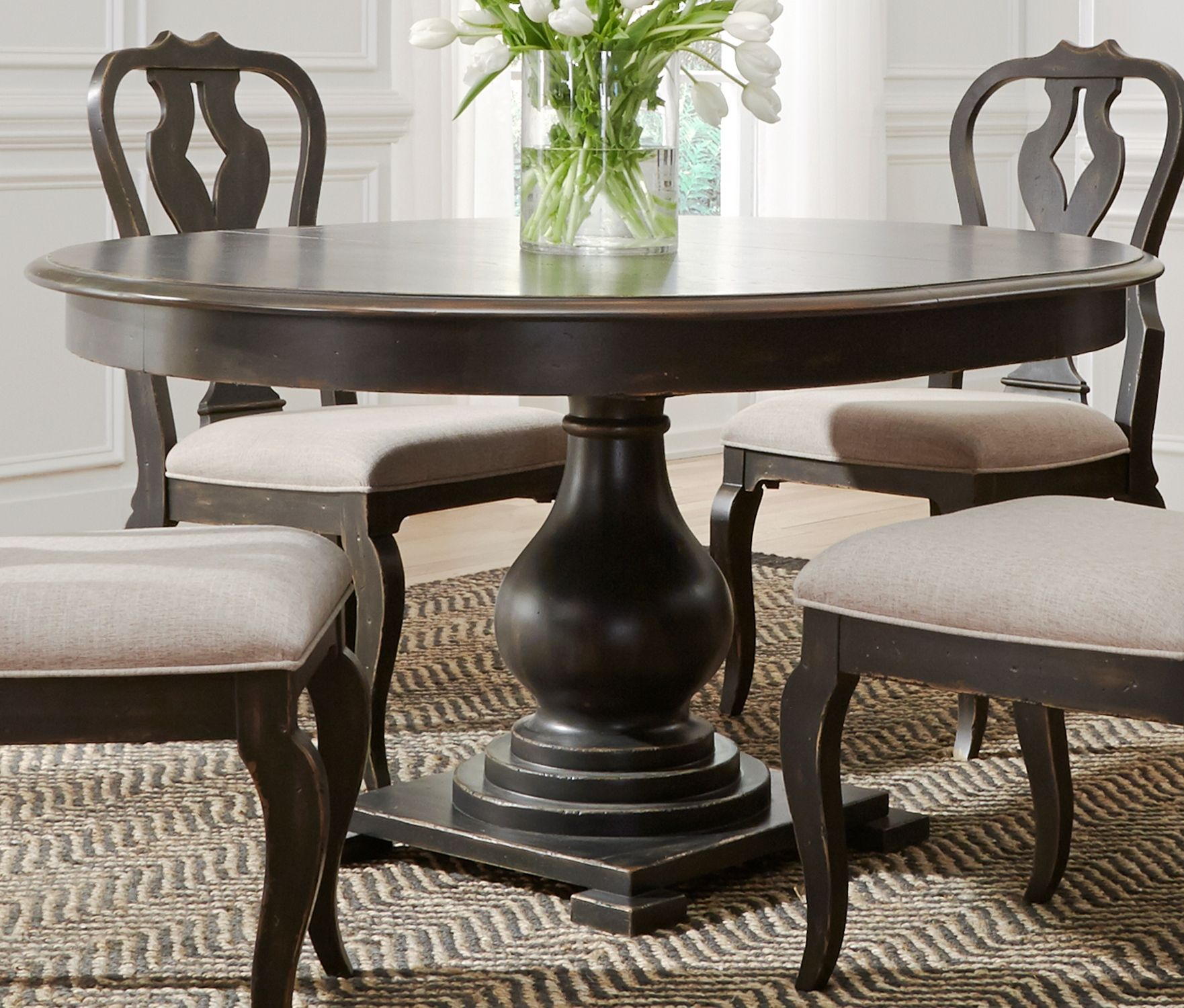 Liberty Chesapeake Antique Black Extendable Round Dining Intended For Newest 28'' Pedestal Dining Tables (View 11 of 15)