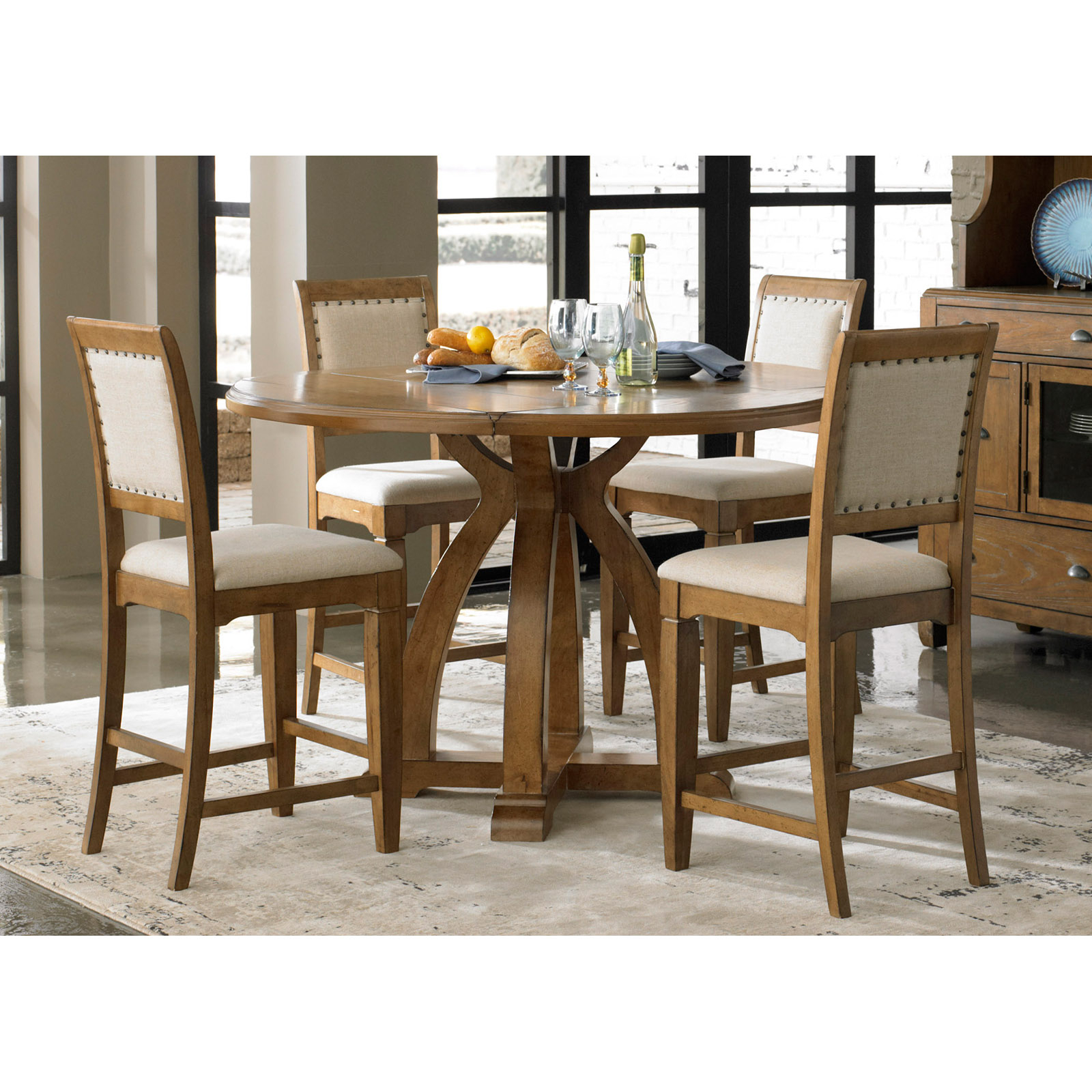 Liberty Furniture Stanton 5 Piece Counter Height Gathering Intended For Most Recently Released Counter Height Pedestal Dining Tables (View 10 of 15)