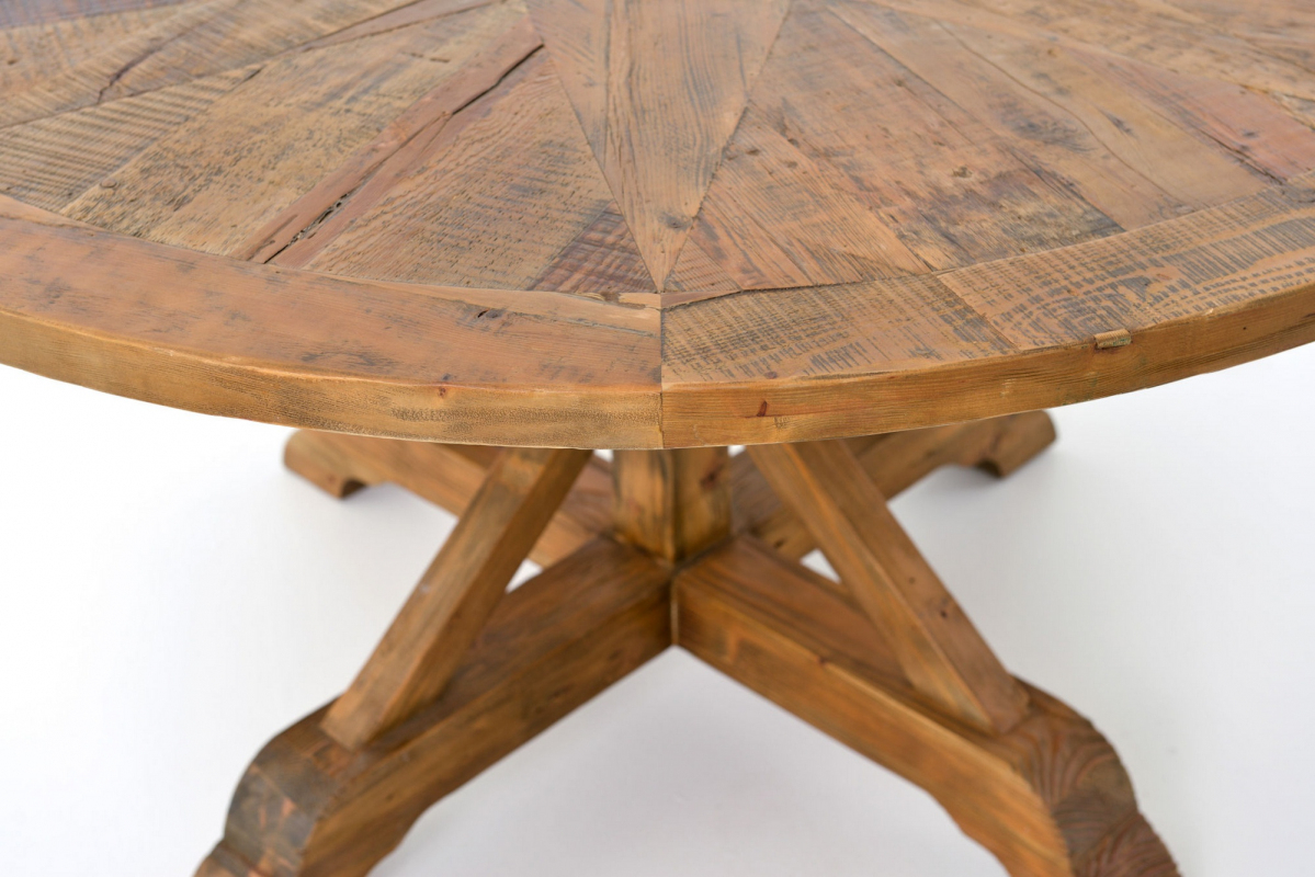 Lindsey Round Dining Table 59 Bleached Pine Throughout Most Current Eleni 35'' Dining Tables (View 13 of 15)