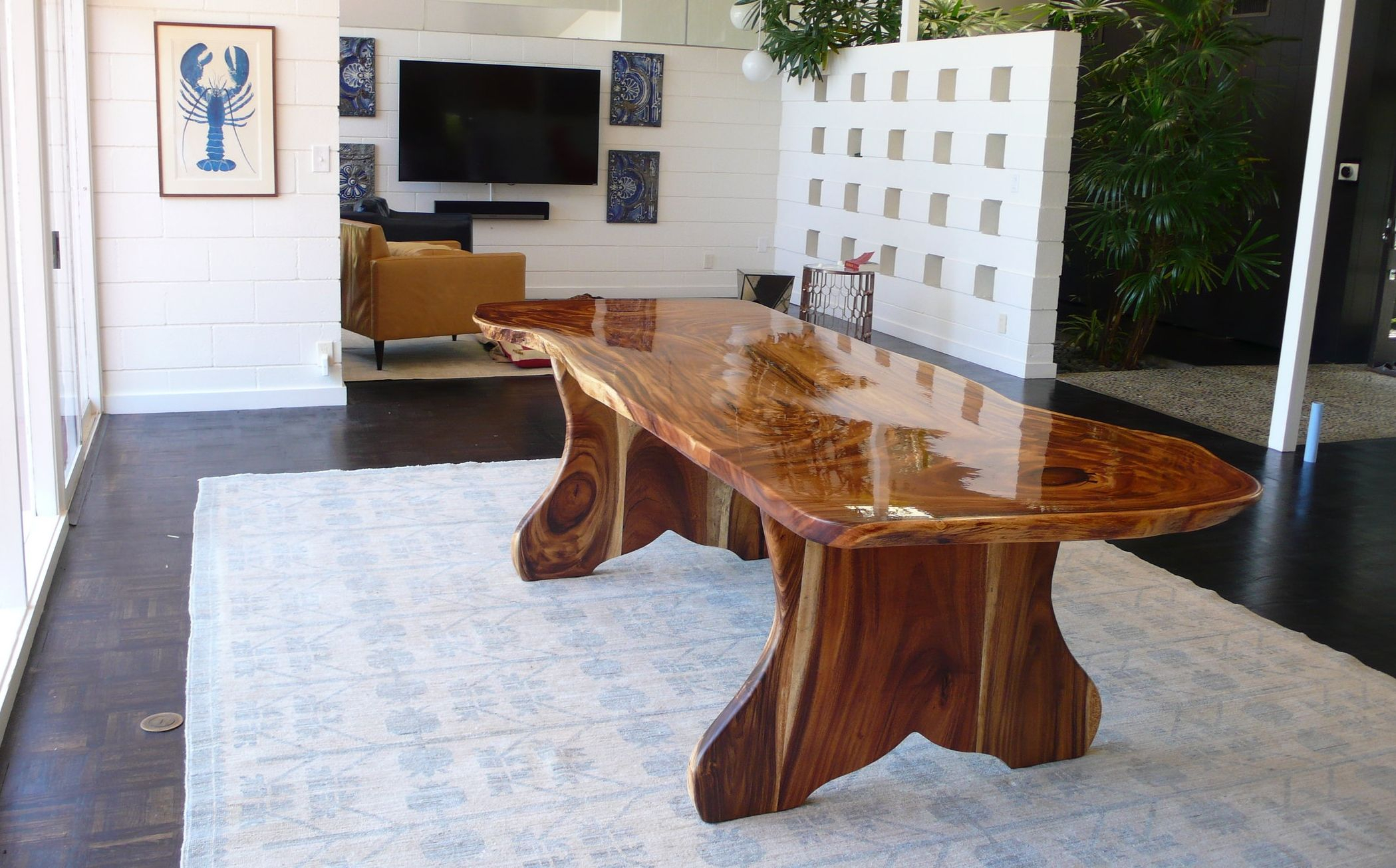 Live Edge Monkey Pod Large Slab Dining Table Highly Pertaining To Most Recent Isak  (View 12 of 15)