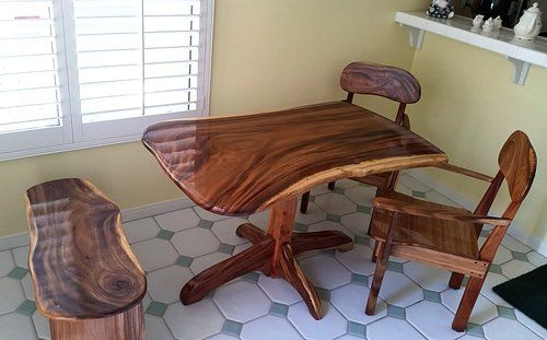 Live Edge Slab Monkey Pod Kitchen Table On Pedestal Base Pertaining To Recent Isak  (View 4 of 15)