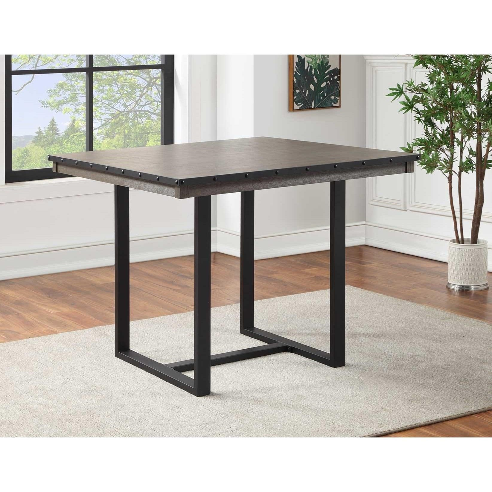 Lori Industrial 46 Inch Counter Height Square Dining Table With Best And Newest Counter Height Dining Tables (View 4 of 15)