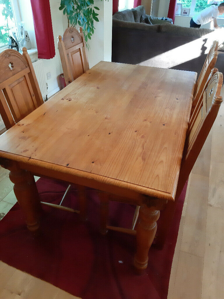Lovely Solid Pine Dining Table 5Ft X 3Ft And 4 Chairs | In Throughout 2017 Febe Pine Solid Wood Dining Tables (View 3 of 15)