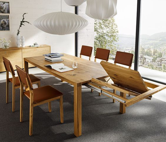Luxury Solid Wood Extending Dining Table Shown In Oak In In Current Keown 43'' Solid Wood Dining Tables (View 2 of 15)