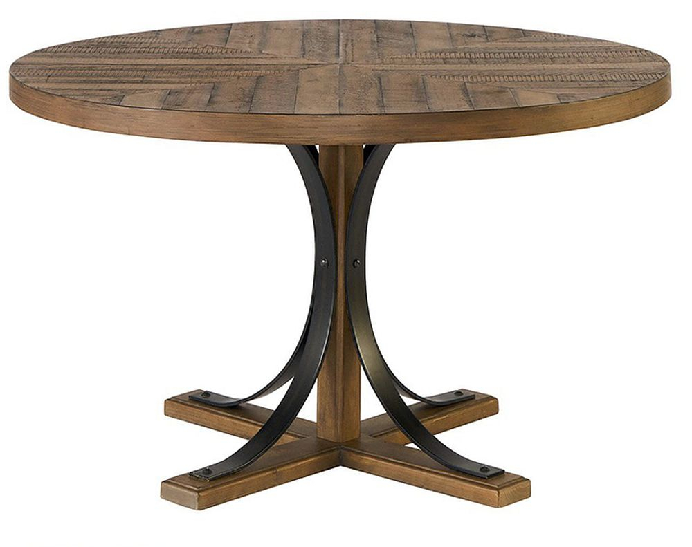 Magnolia Home 4011001H Round Iron Trestle Dining Table At With Regard To 2017 Leonila 48'' Trestle Dining Tables (View 14 of 15)