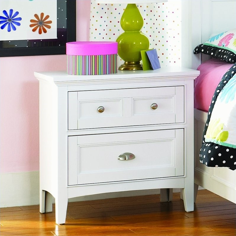 """Magnussen Kenley 2 Drawer Nightstand In White Finish Intended For Most Popular Dionara 56"""" L Breakroom Tables (View 14 of 15)"""