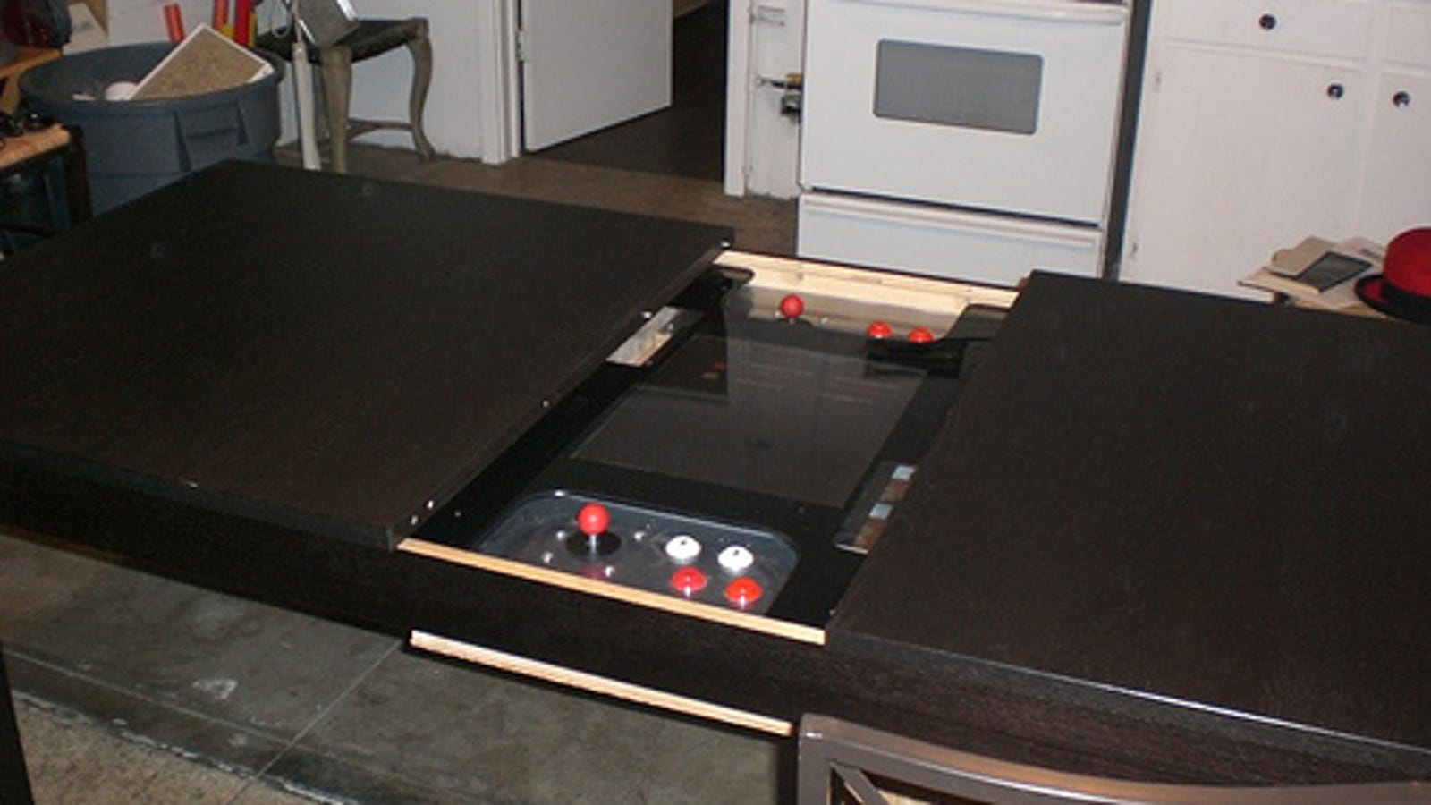 Man Fits Home Made Gaming System To Ikea Dining Table In Best And Newest 3 Games Convertible 80 Inches Multi Game Tables (View 11 of 15)