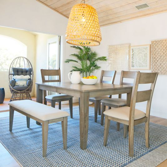 Mango Wood Dining Table Set   6 Piece Dinette Set With With Most Recent Alfie Mango Solid Wood Dining Tables (View 10 of 15)