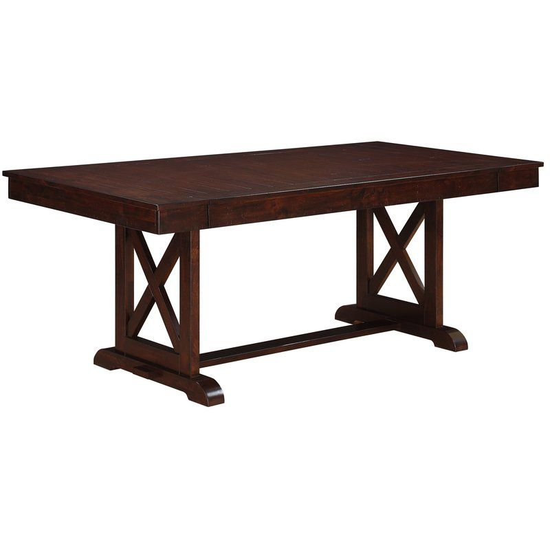 Mannox Butterfly Leaf Extendable Dining Table   Trestle With 2017 Haddington 42'' Trestle Dining Tables (View 11 of 15)