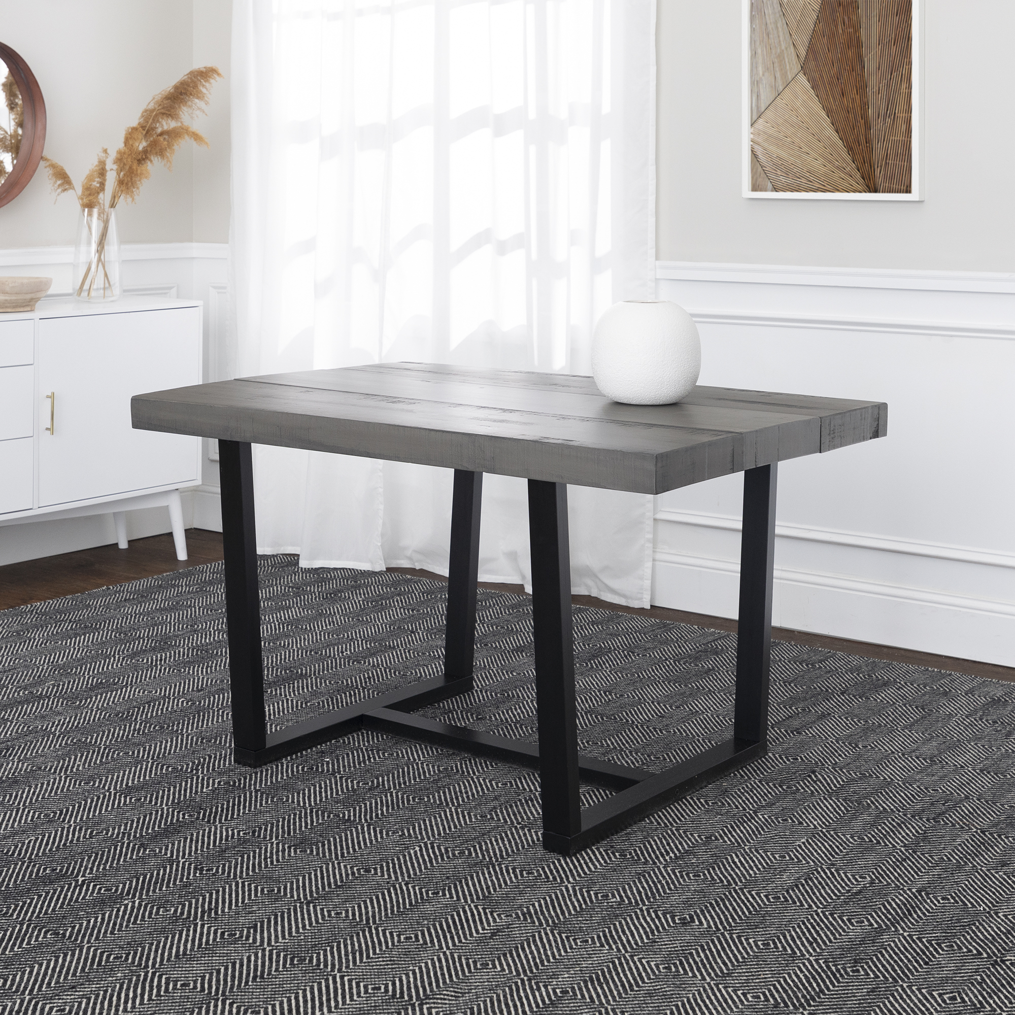 Manor Park Distressed Solid Wood Dining Table – Grey Pertaining To Most Up To Date Keown 43'' Solid Wood Dining Tables (View 6 of 15)