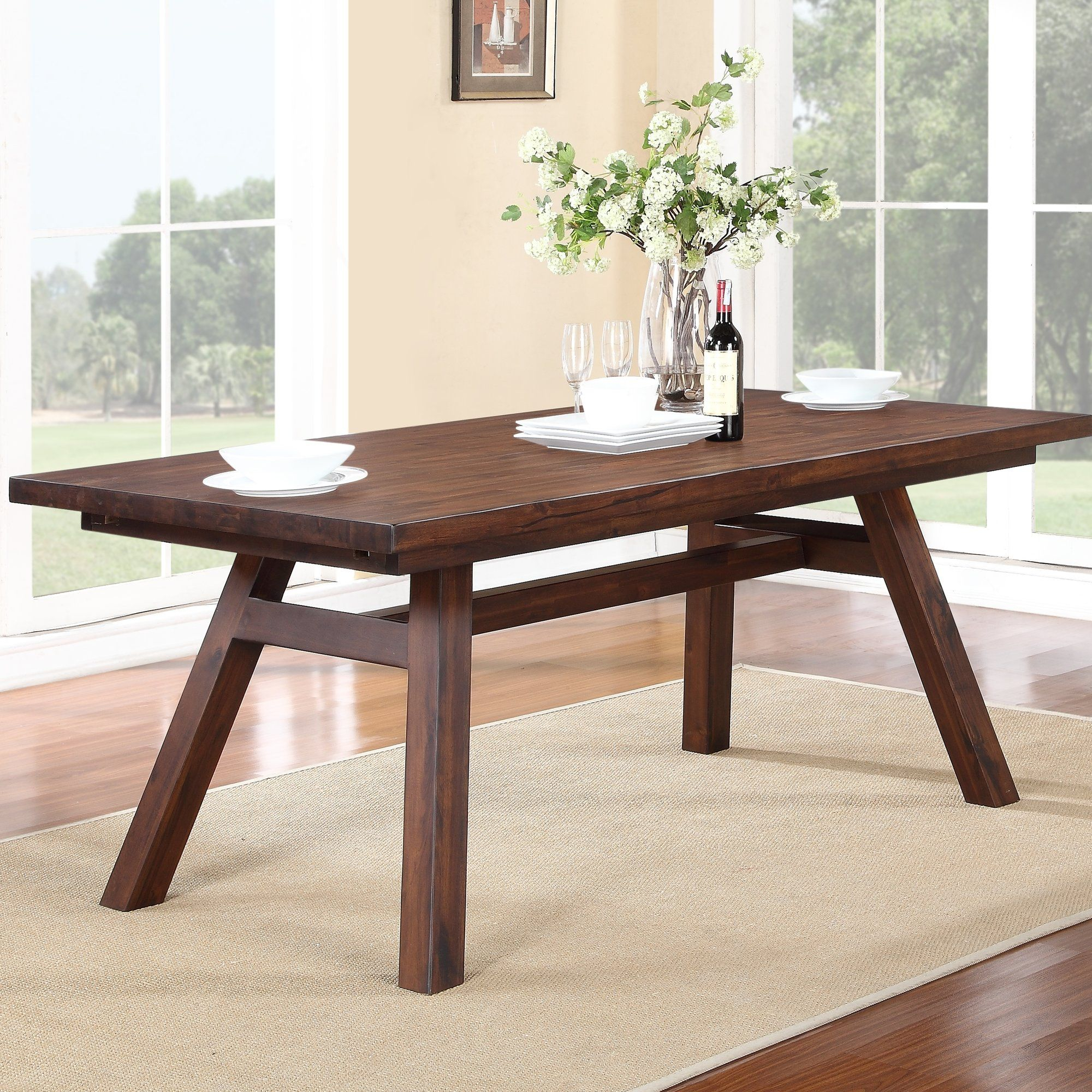 Marine Solid Wood Dining Table | Dining Table In Kitchen Regarding Current Katarina Extendable Rubberwood Solid Wood Dining Tables (View 4 of 15)