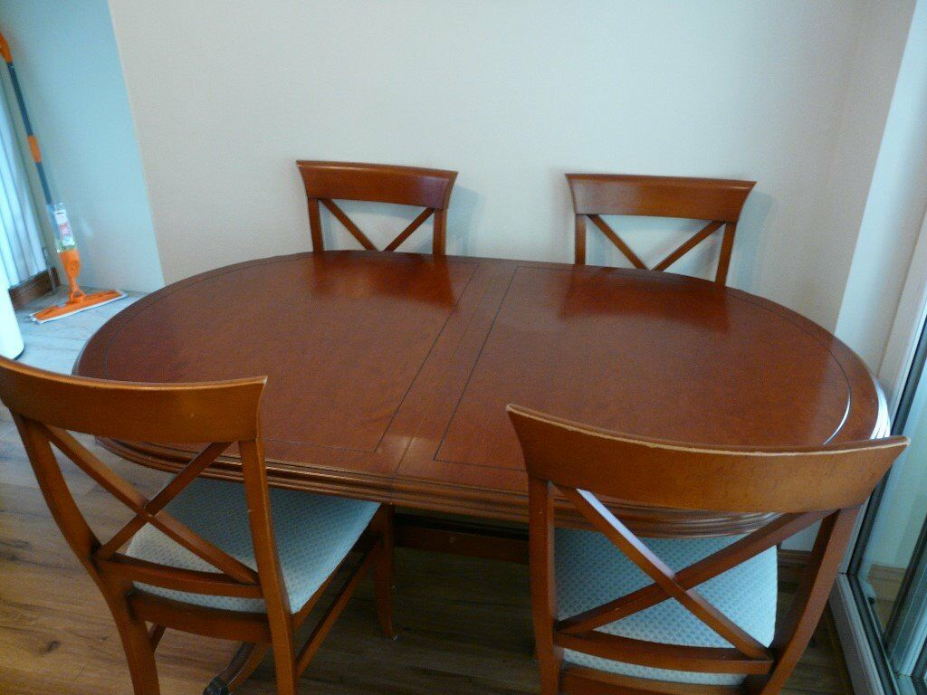 Mcdonagh Cherry Oval Dining Room Table & Four Chairs Inside 2017 49'' Dining Tables (View 12 of 15)
