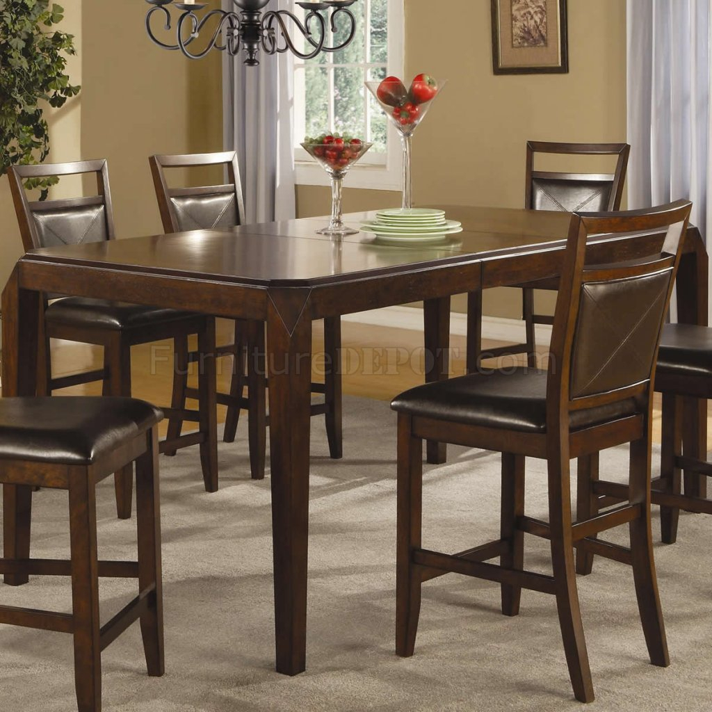 Medium Brown Finish Modern Counter Height Dining Table W With Most Recent Romriell Bar Height Trestle Dining Tables (View 5 of 15)