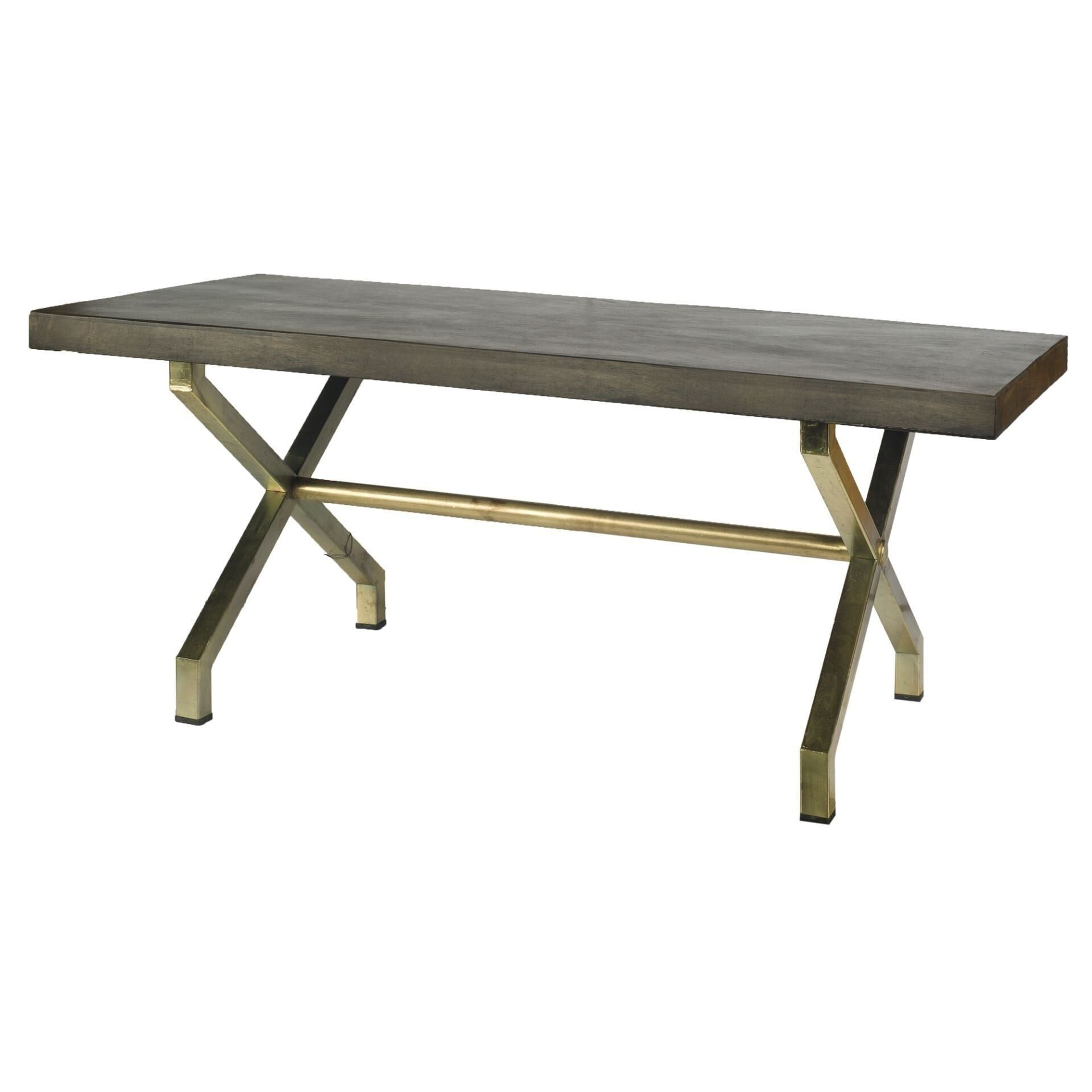 Mercana Arrow I Dark Walnut/Antiqued Brass Wood/Iron With Most Recent Mccrimmon 36'' Mango Solid Wood Dining Tables (View 15 of 15)