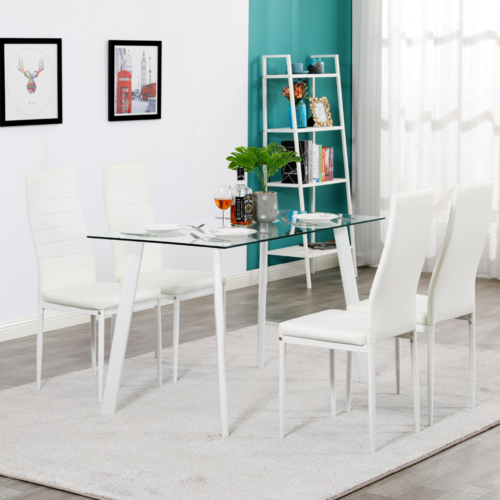 Metal 5 Piece Glass Dining Table Set 4 Chairs Furniture In Most Recent Gunesh  (View 15 of 15)
