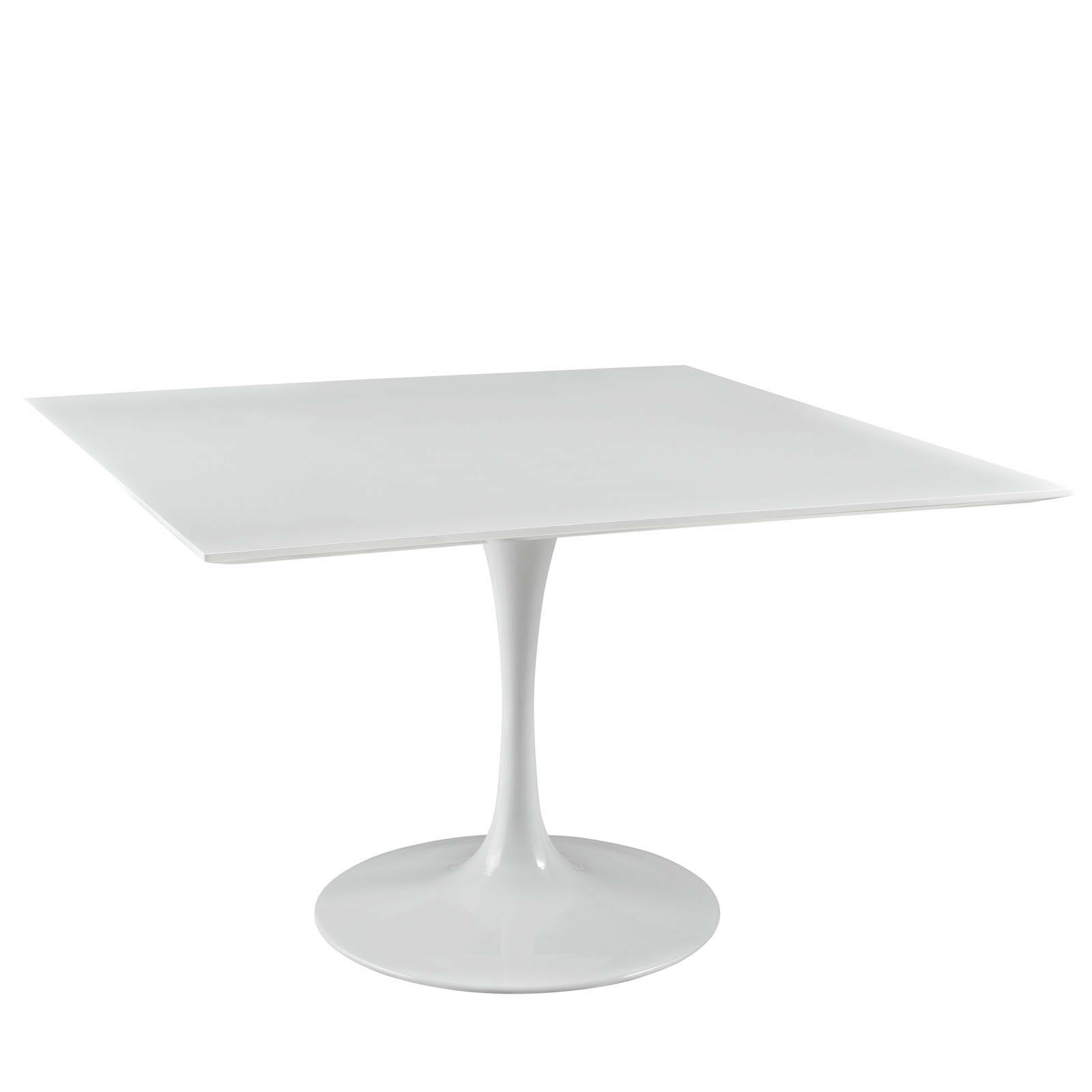 """Mid Century Modern 47"""" Square White Wood Top Metal With Most Popular Wilkesville 47'' Pedestal Dining Tables (View 8 of 15)"""