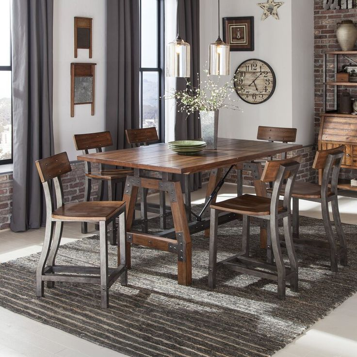 Millwood Pines Liam 7 Piece Counter Height Dining Set Pertaining To Latest Mciver Counter Height Dining Tables (View 12 of 15)