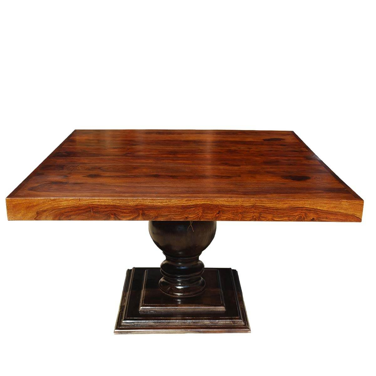 Minneapolis Rustic Solid Wood Fusion Pedestal Square In Current Sevinc Pedestal Dining Tables (View 6 of 15)