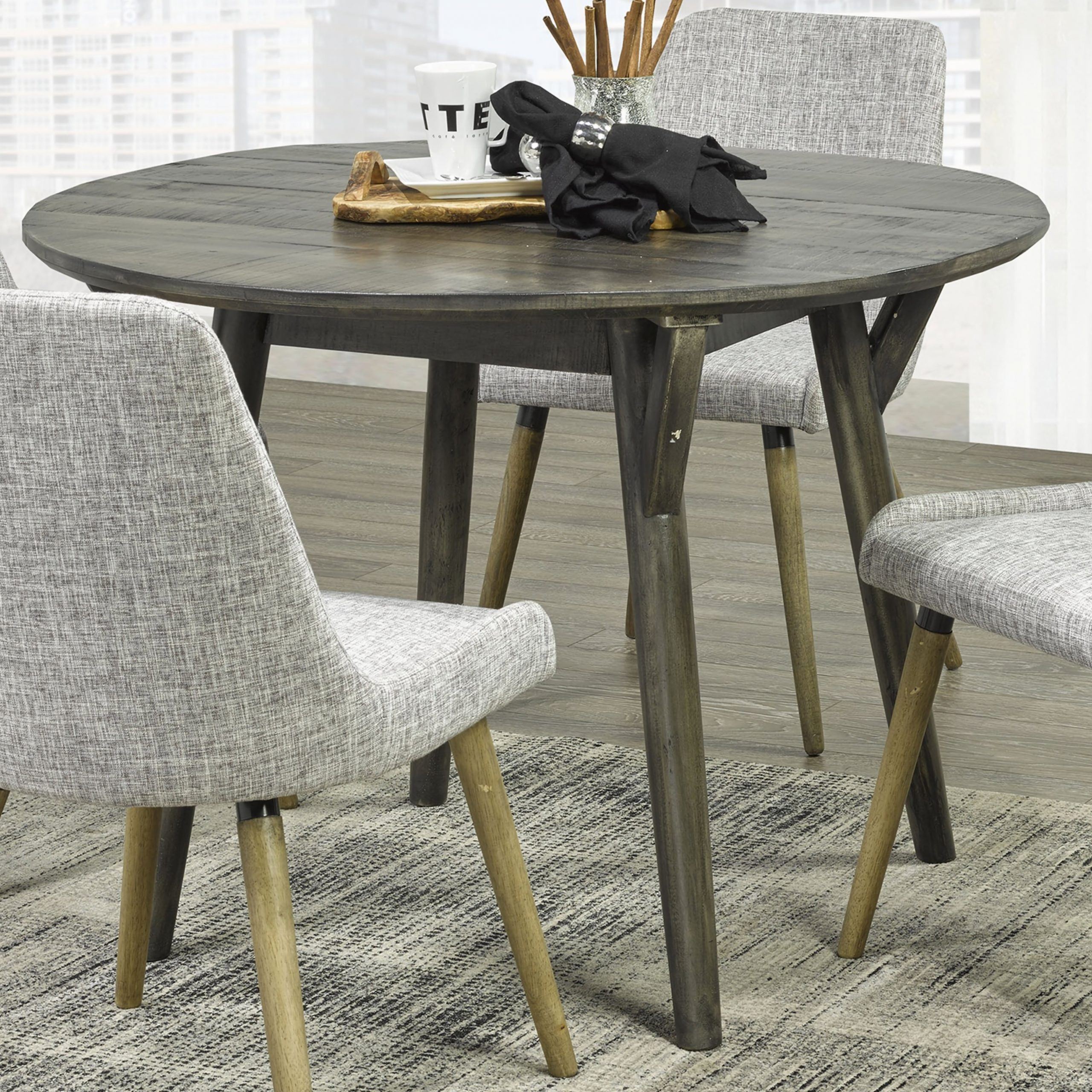Mira Round Dining Table In Distressed Grey | Ar Furniture For Most Recent Mccrimmon 36'' Mango Solid Wood Dining Tables (View 12 of 15)
