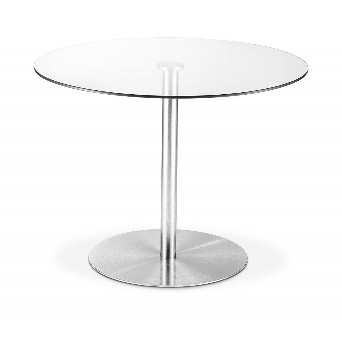 Modern Home – Milan Round Glass Brushed Steel Pedestal Intended For Newest Jazmin Pedestal Dining Tables (View 12 of 15)