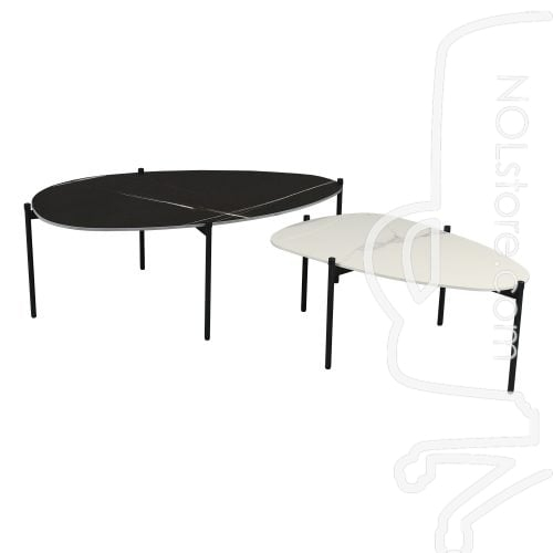 """Modern Oval 36 Inch Marble Top Coffee Table, White In 2017 Bentham 47"""" L Round Stone Breakroom Tables (View 3 of 15)"""