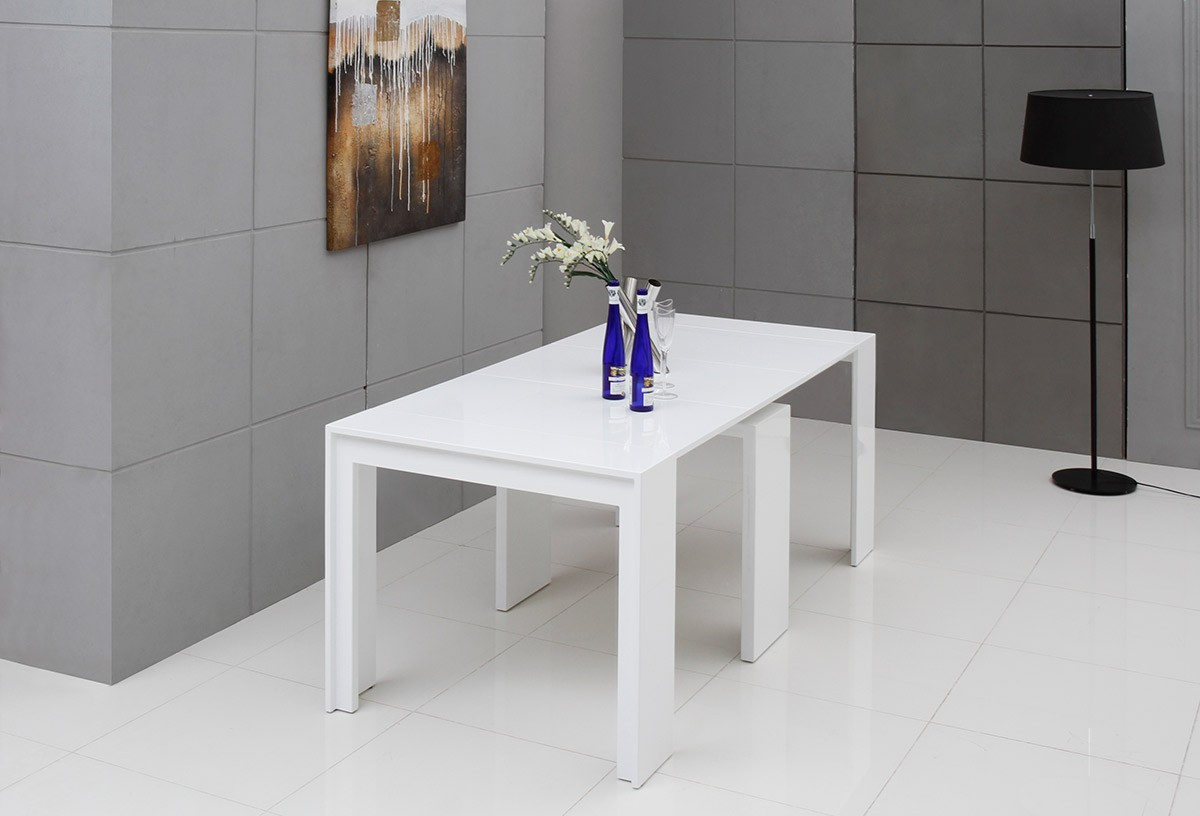 Modrest Morph – Modern Ultra Compact Extendable White In 2018 Mcmichael 32'' Dining Tables (View 15 of 15)