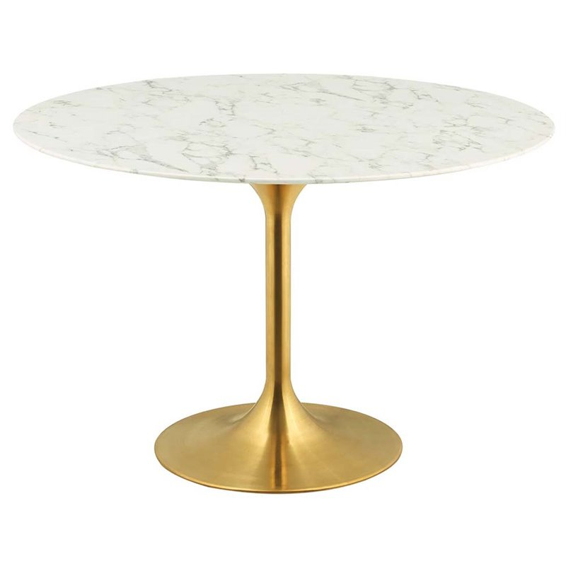 """Modway Lippa 47"""""""" Round Faux Marble Top Pedestal Dining Intended For Newest Kohut 47'' Pedestal Dining Tables (View 7 of 15)"""