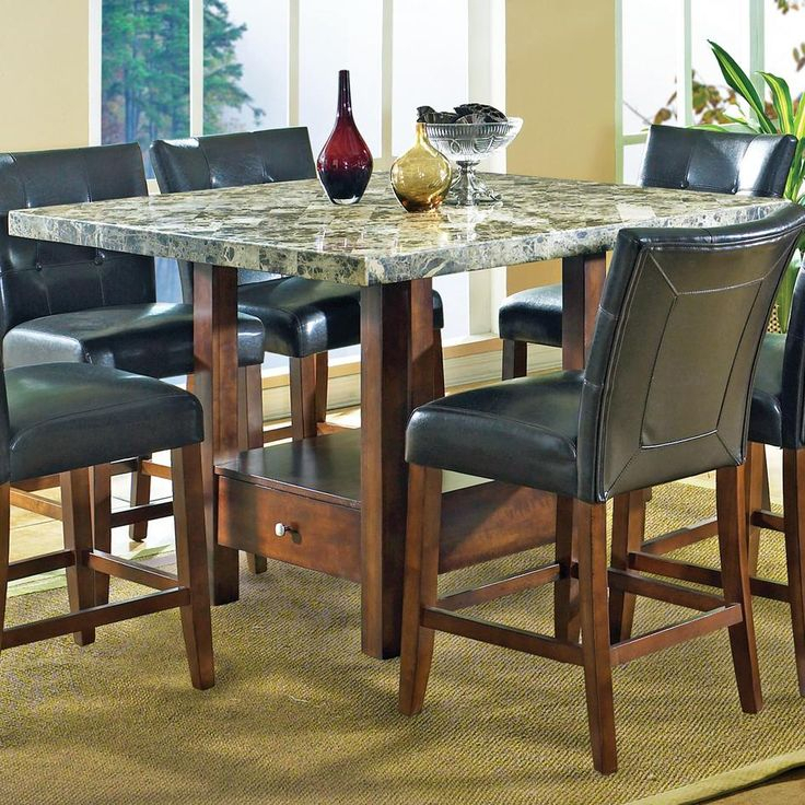 Montibello Marble Veneer Top Counter Height Table With With Regard To Most Recent Andreniki Bar Height Pedestal Dining Tables (View 2 of 15)