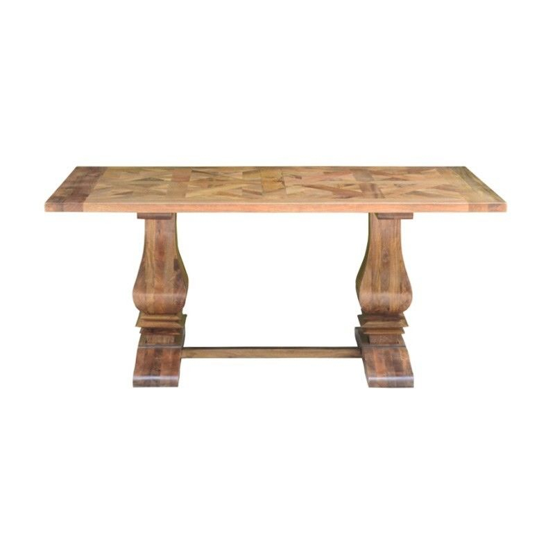 Morgan Solid Mango Wood Timber Parquetry Dining Table, 180Cm In Current Alfie Mango Solid Wood Dining Tables (View 6 of 15)