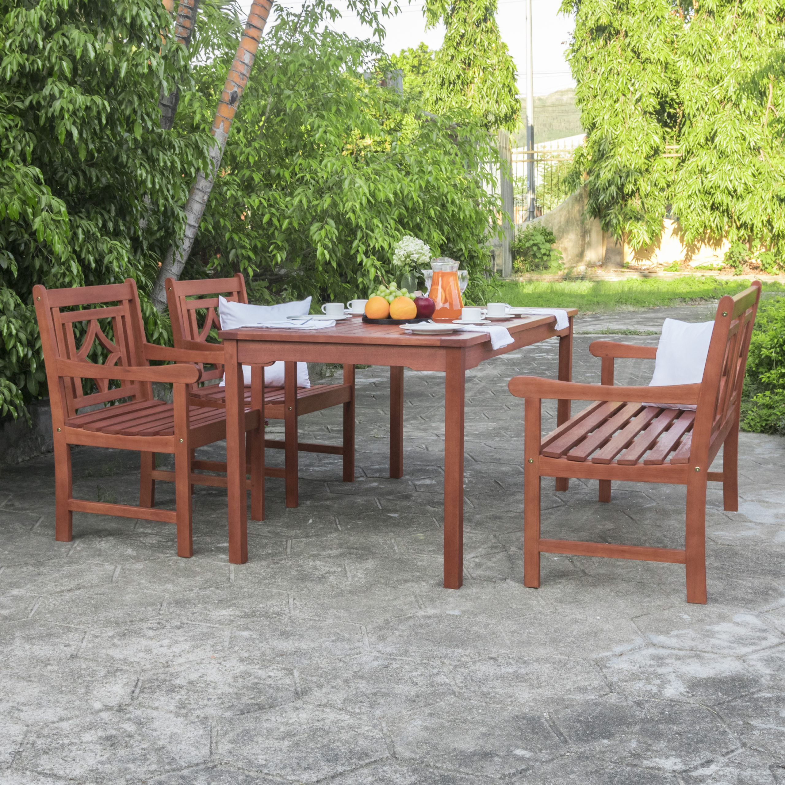 """Natural Wood – Malibu Outdoor 4 Piece Wood Patio Inside 2017 Elite Rectangle 48"""" L X 24"""" W Tables (Photo 13 of 15)"""