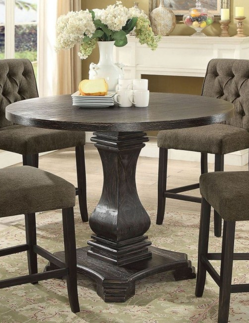 Nerissa Antique Black Counter Height Dining Table Pertaining To Best And Newest Desloge Counter Height Trestle Dining Tables (View 15 of 15)