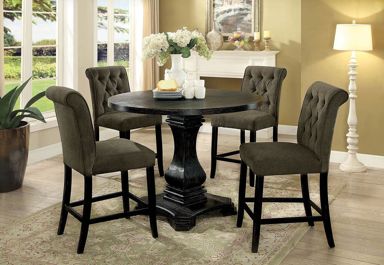 Nerissa Counter Height Dining Set (Antique Black In Most Popular Barra Bar Height Pedestal Dining Tables (View 8 of 15)