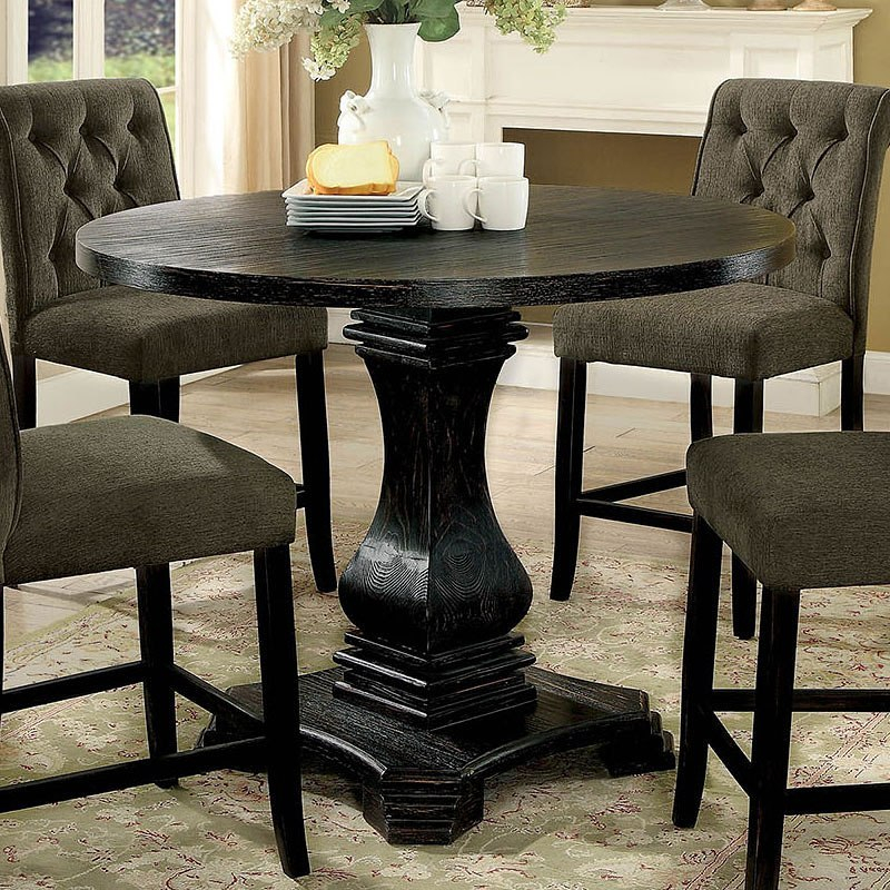 Nerissa Counter Height Table (Antique Black) | Round Regarding Newest Counter Height Pedestal Dining Tables (View 14 of 15)